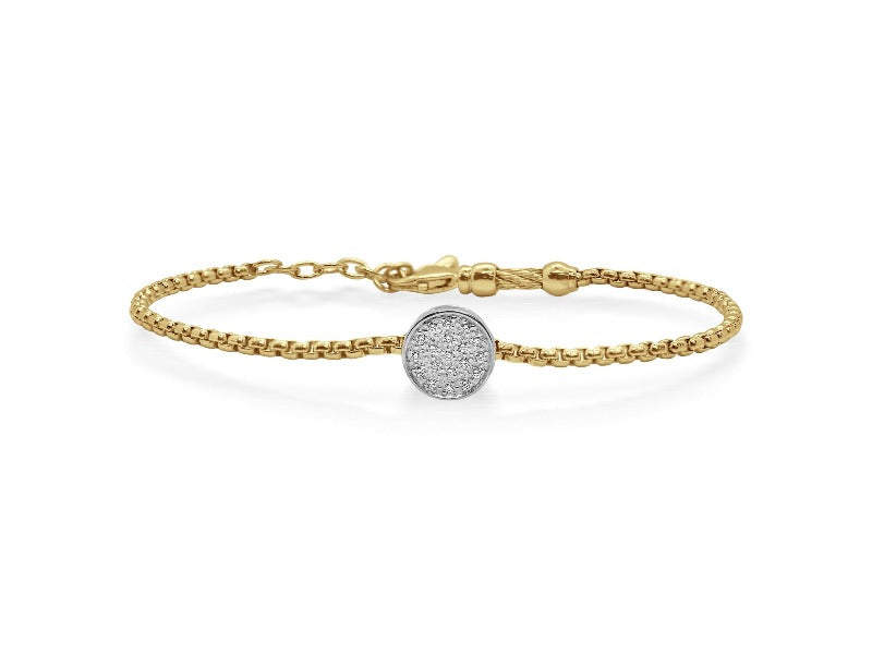 14kt Stainless Steel Scattered Diamond Bracelet