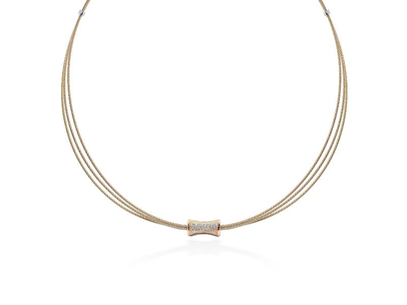 18kt Stainless Steel Rose Cable Diamond Necklace