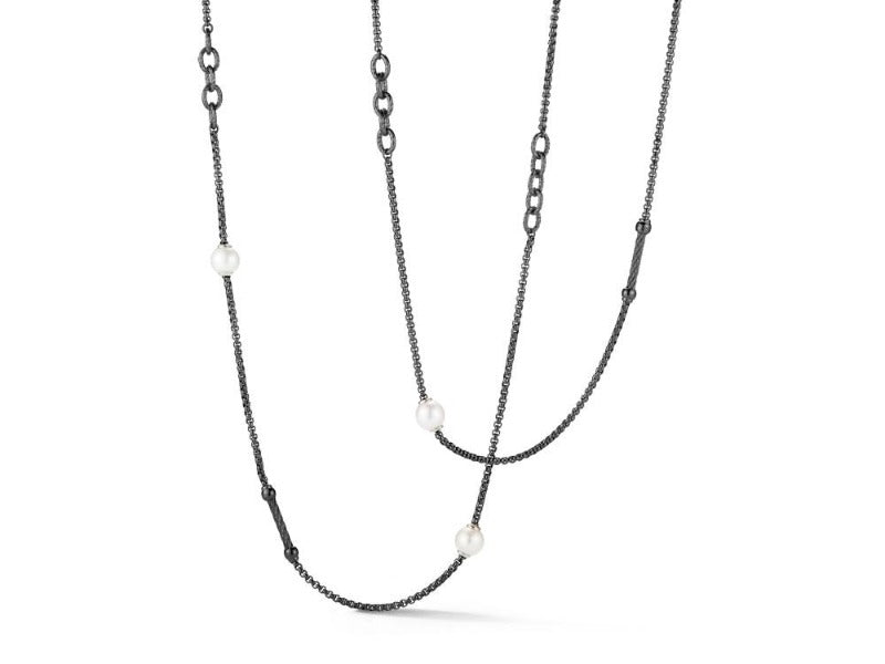 Stainless Steel Black and Grey Chain Freshwater Pearl Necklace