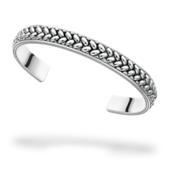 Silver Braid Mens Bangle