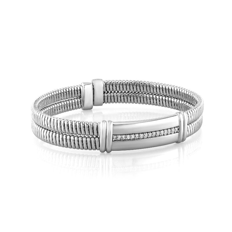 18kt White Gold Double Coil Diamond Bangle