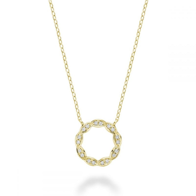 10kt Yellow Gold Round Marquise Diamond Necklace