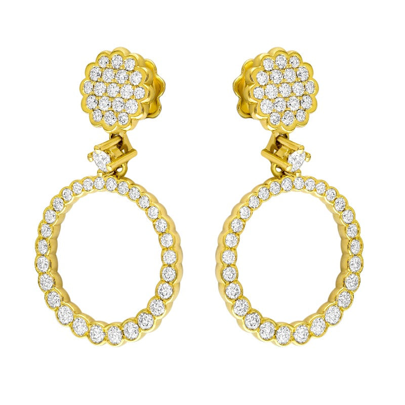 18kt Yellow Gold Open Circle Diamond Earrings