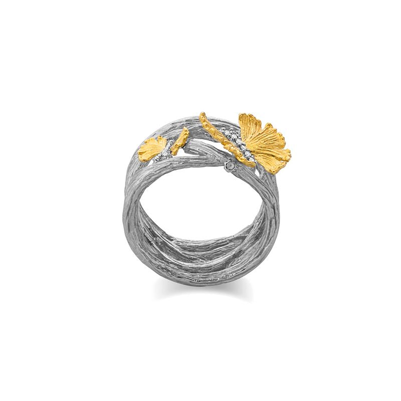 Butterfly Gingko Diamond Ring