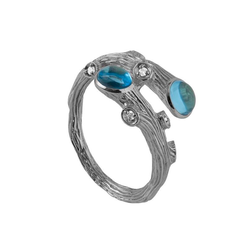 Enchanted Forest Blue Topaz and Diamond Ring