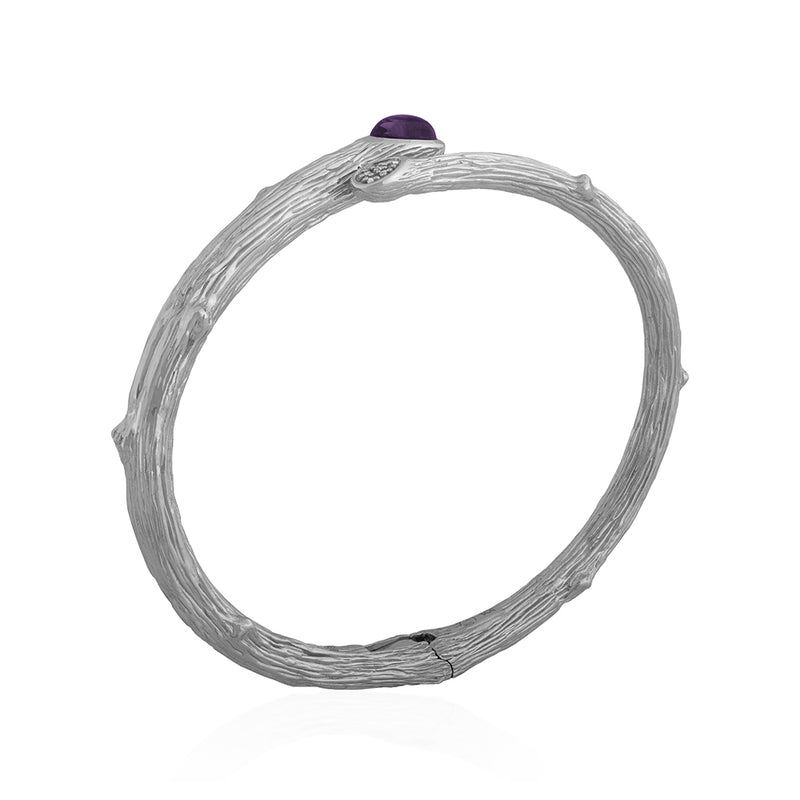 Enchanted Forest Amethyst and Diamond Bangle