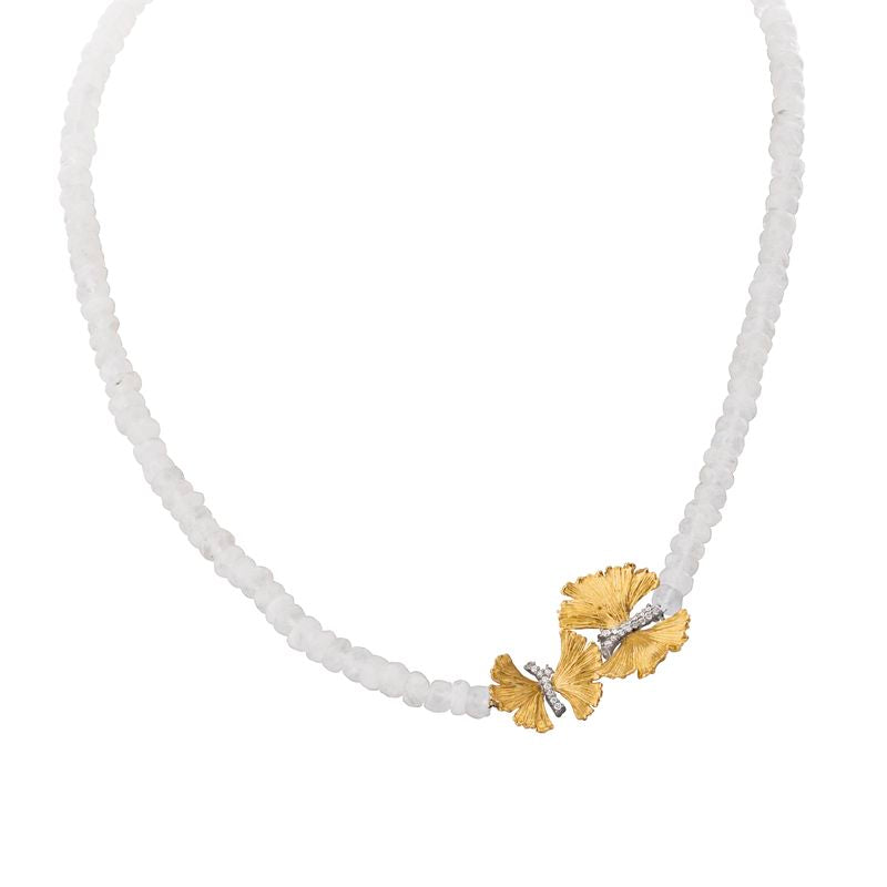 Butterfly Ginkgo Necklace with Moonstone and Diamonds