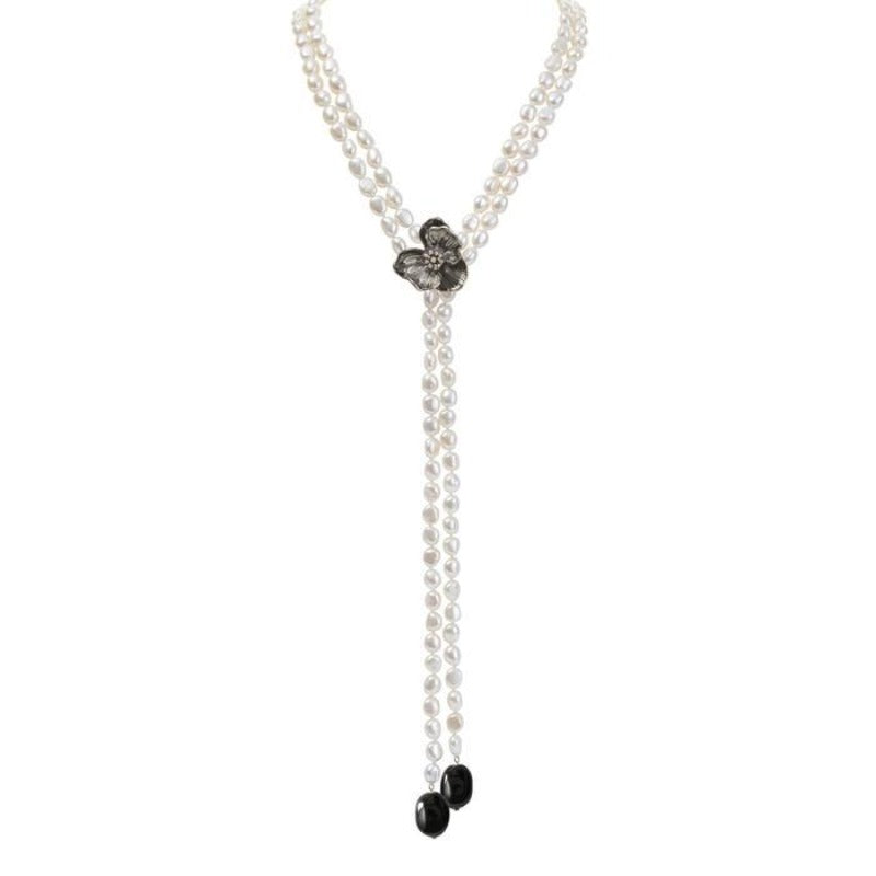 Orchid Lariat Necklace with Pearls, Black Onyx and Diamonds