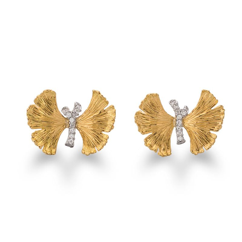 Butterfly Gingko Diamond Earrings