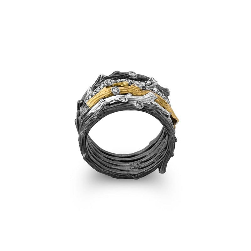 Enchanted Forest Multi Row Two Tone Diamond Ring