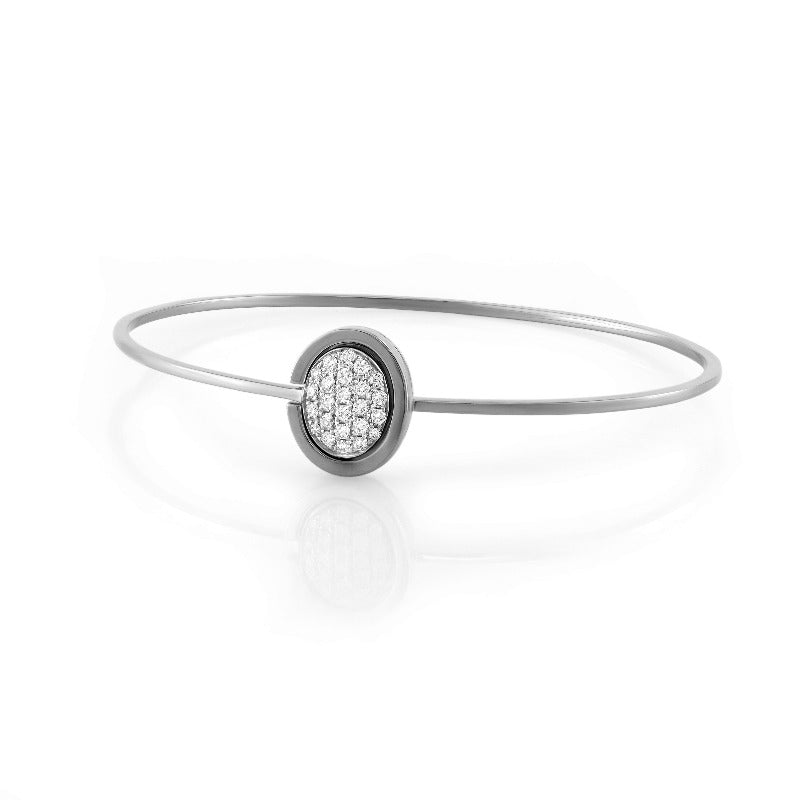 18kt White Gold Oval Cluster Bangle