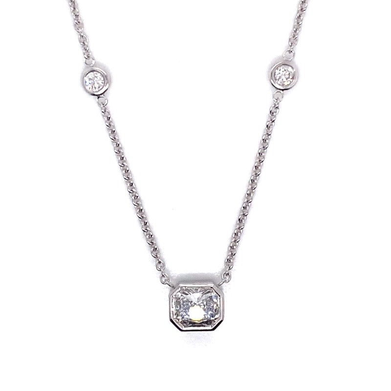 18kt White Gold Radiant Diamond by the Yard Necklace