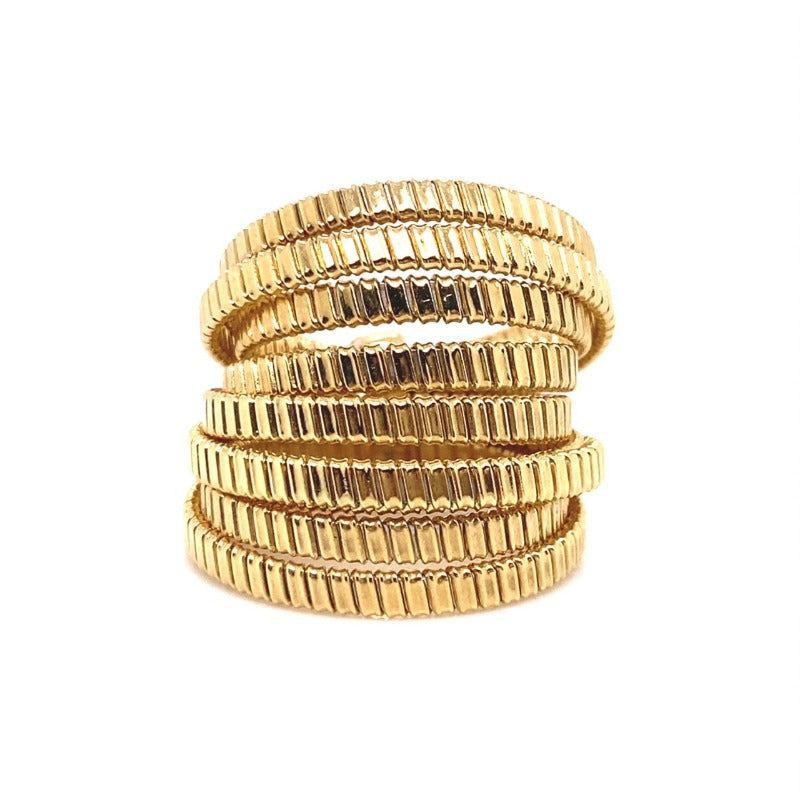 18kt Yellow Gold 8 Row Coil Ring