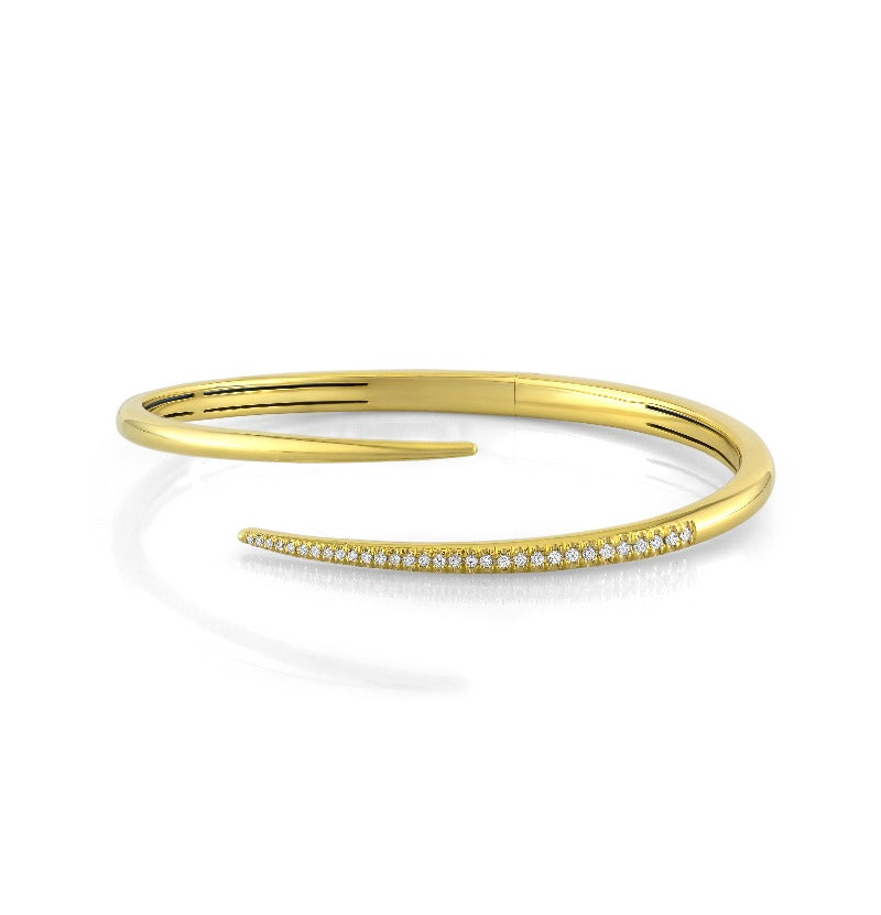 18kt Yellow Gold Diamond Open Taper Bangle