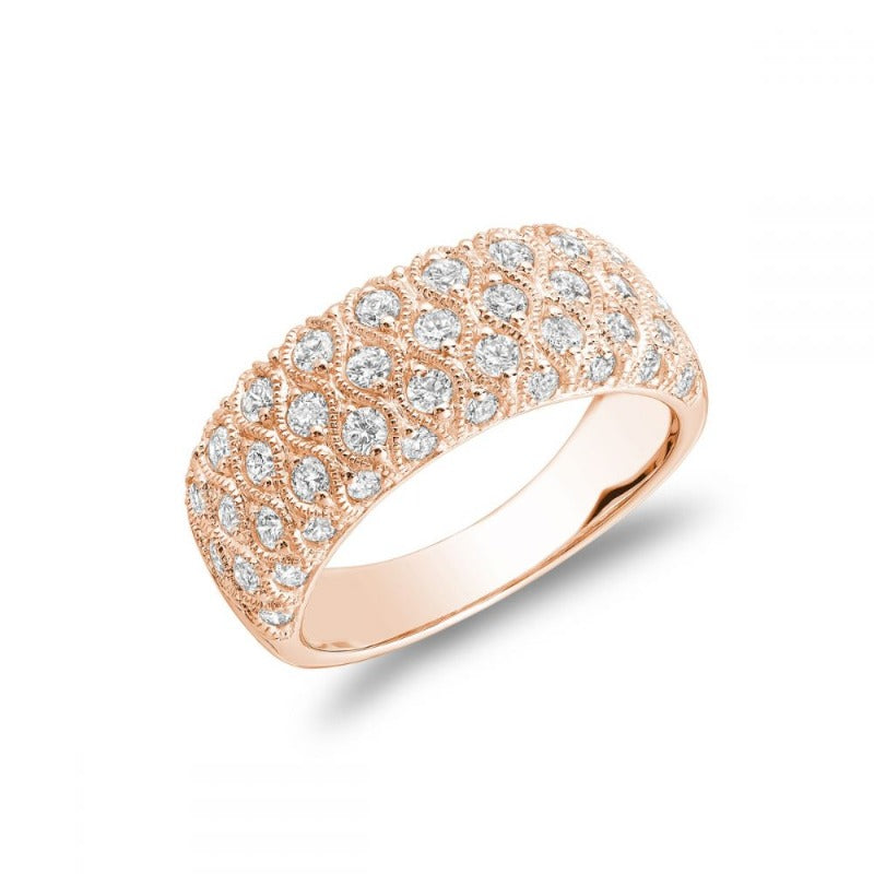 14kt Rose Gold 3 Row  Diamond Weave Band