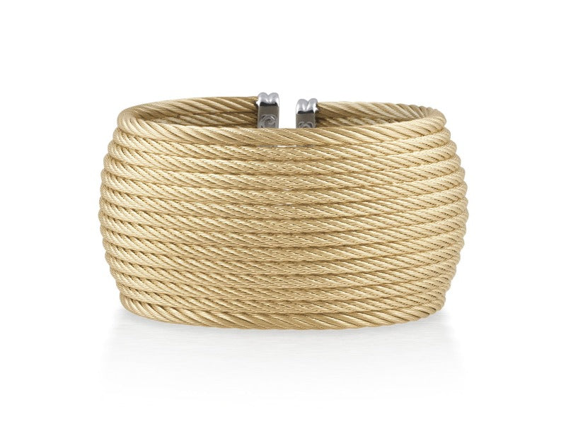18kt Stainless Steel Yellow 14 Row Cable Bangle