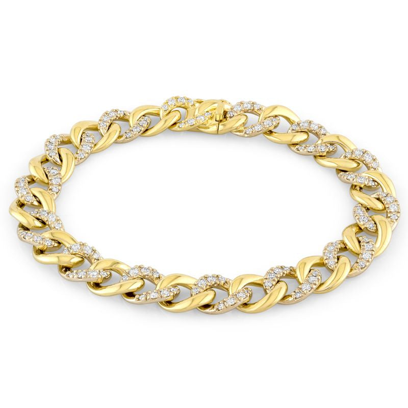 18kt Yellow Gold Alternating Diamond Curb Bracelet