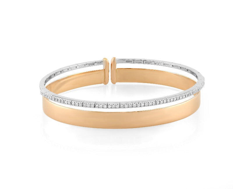 18kt White and Rose Gold Diamond Bangle