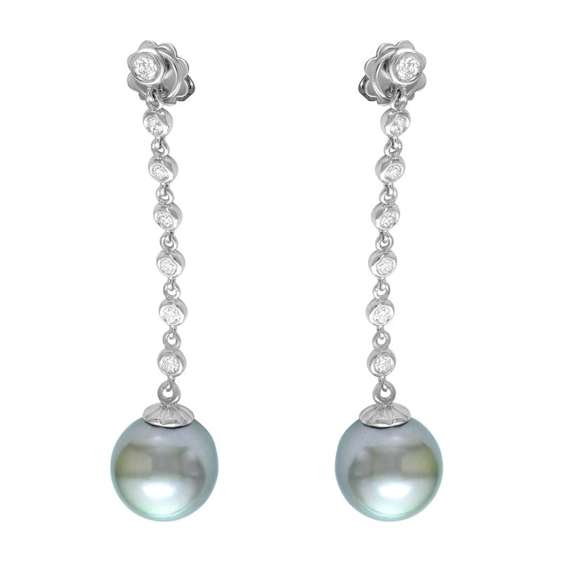 18kt White Gold Tahitian Pearl and Diamond Earrings