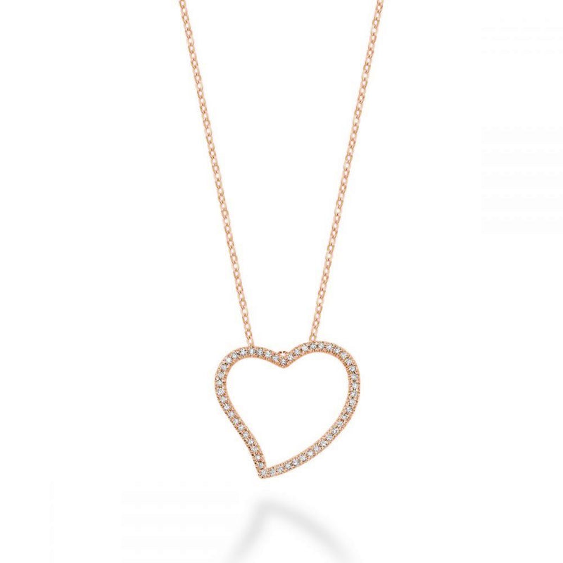 Gold Asymmetrical Diamond Heart Pendant