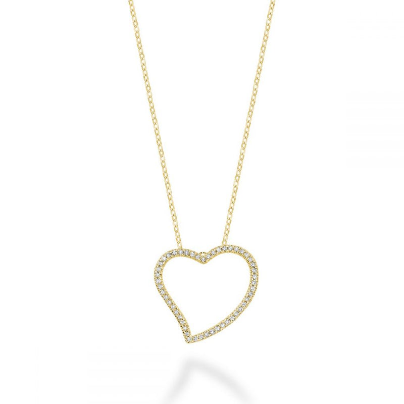 Yellow Gold Asymmetrical Diamond Heart Pendant