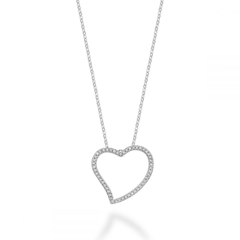 White Gold Asymmetrical Diamond Heart Pendant