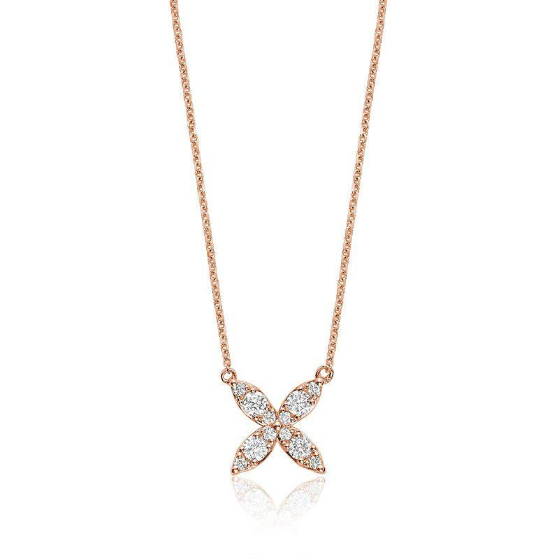 14kt Yellow Gold Marquise Flower Necklace
