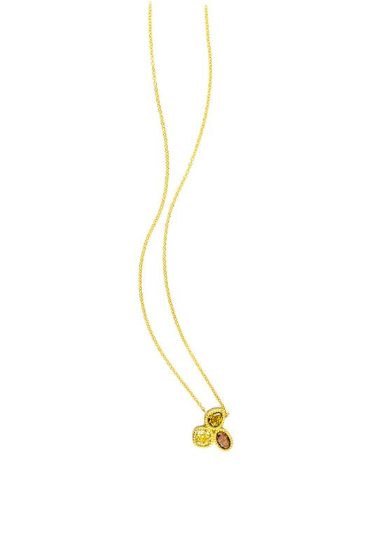 18kt Yellow Gold Diamond 3 Stone Necklace