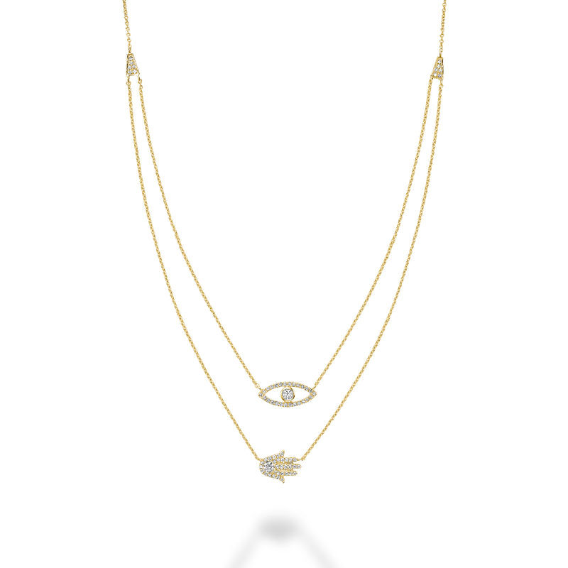 Yellow Gold Double Necklace With Diamond Evil Eye & Hamsa Pendant