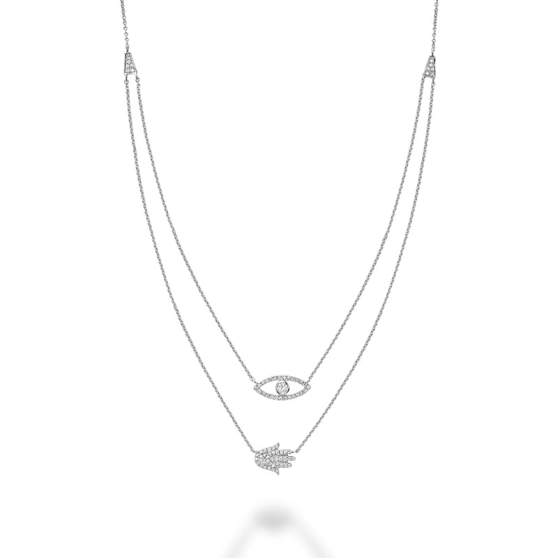 White Gold Double Necklace With Diamond Evil Eye & Hamsa Pendant