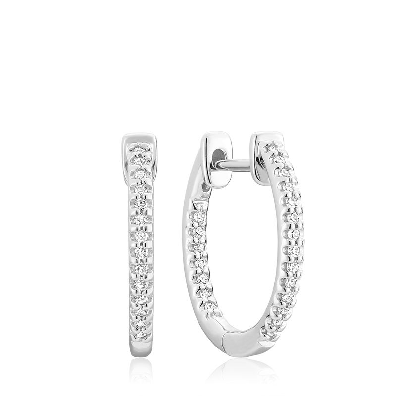 14kt White Gold Inside Out Diamond Hoops