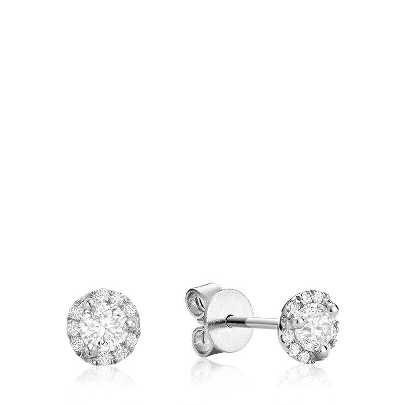 14kt White Gold Diamond Halo Studs