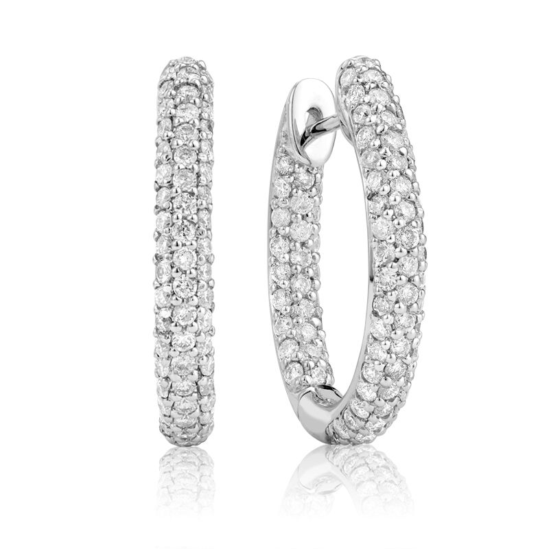 14kt White Gold Oval Inside Out Diamond Hoops