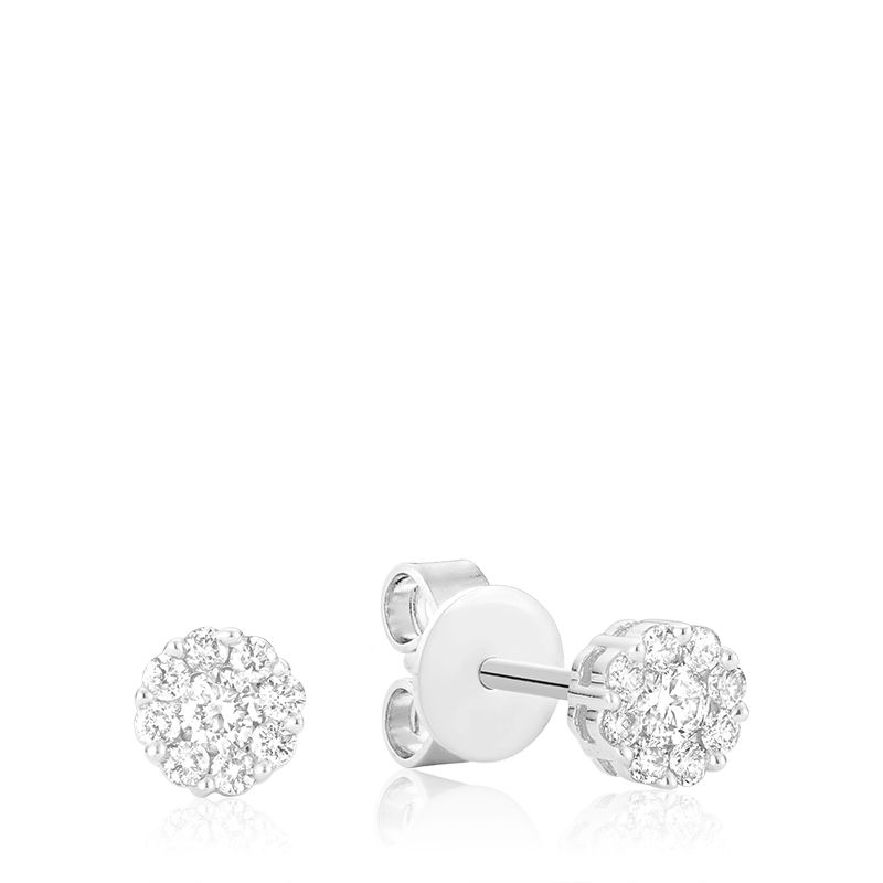 14kt White Gold Cluster Studs