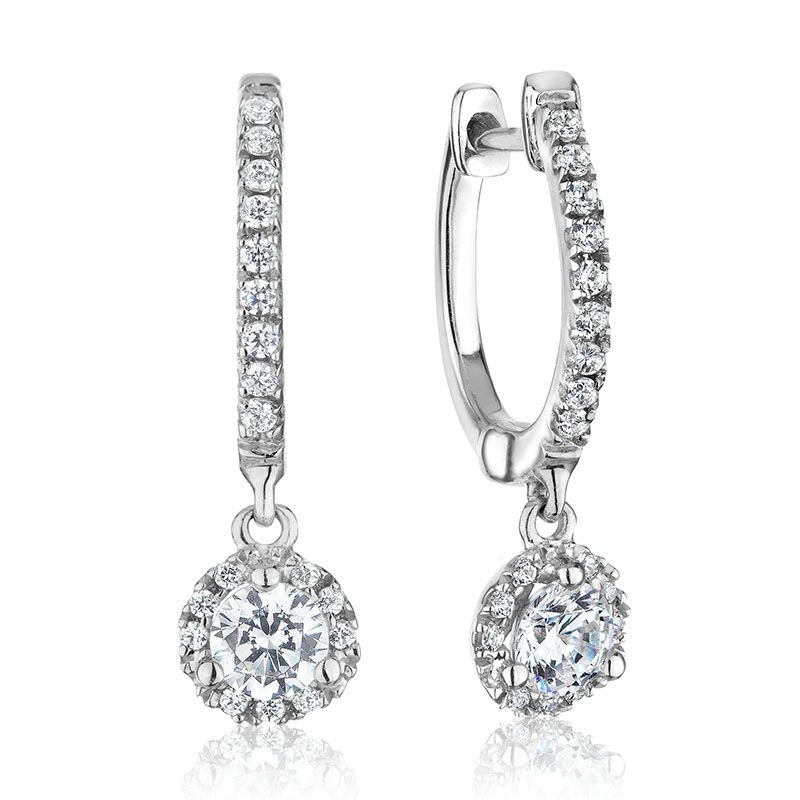 Diamond Halo Dangle Earrings