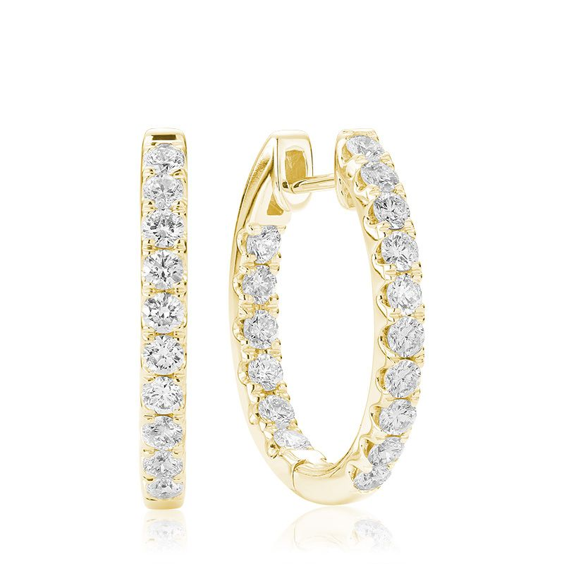 14kt Yellow Gold Oval Inside-Out Diamond Earrings 0.50cts