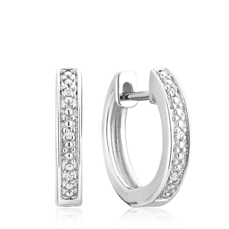 14kt White Gold Diamond Huggies