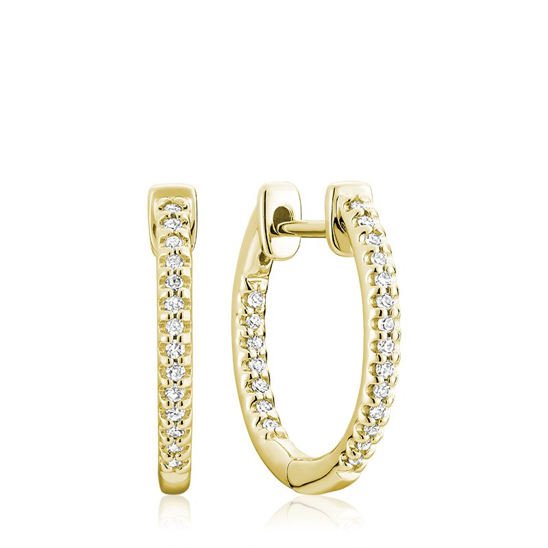 10kt Yellow Gold Small Inside Out Hoop Huggie Earrings
