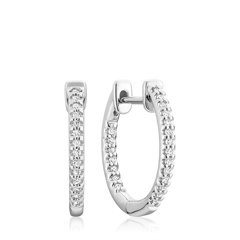 10kt White Gold Small Inside Out Hoop Huggie Earrings