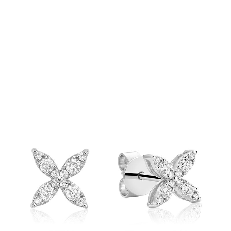 14kt White Gold Marquise Flower Studs