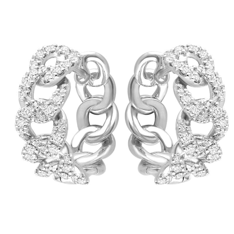 18kt White Gold Curb Diamond Hoops