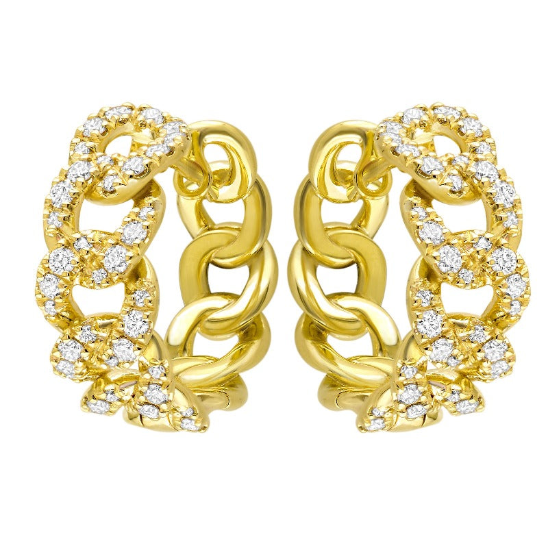 18kt Yellow Gold Curb Diamond Hoops