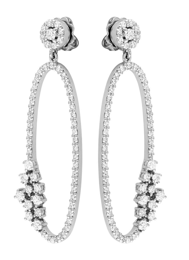 18kt White Gold Oval Drop Earring
