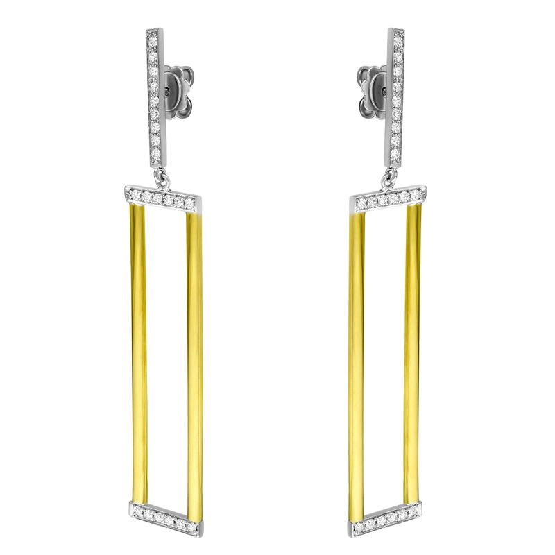 18kt Yellow Gold Diamond Rectangle Earrings