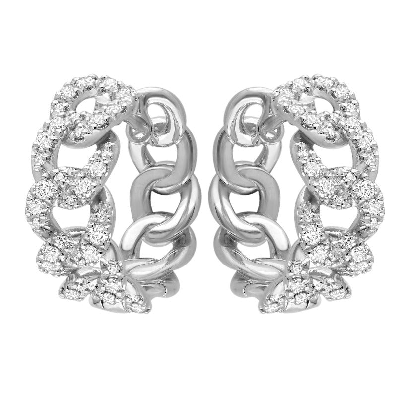 18kt White Gold Curb Link Diamond Hoops