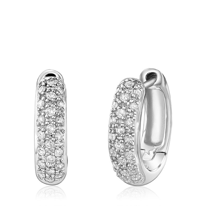 White Gold Small Diamond Pave Huggie Earrings