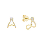 Yellow Gold Diamond Swirl Cluster Earrings