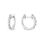 White Gold Baguette Diamond Hoop Earrings