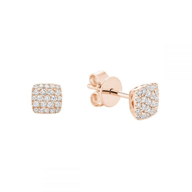 Rose Gold Square Cluster Diamond Pave Earrings