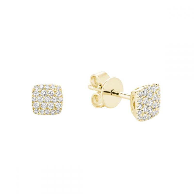 Yellow Gold Square Cluster Diamond Pave Earrings